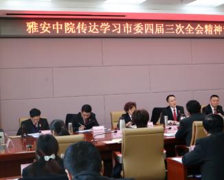 市中级人民法院专题传达学习市委四届三次全会精神